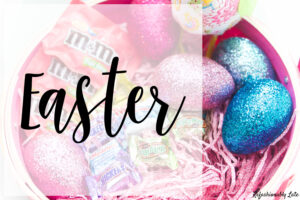 Easter basket with glitter eggs and text Easter