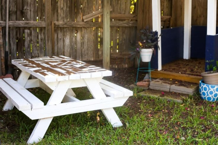 DIY Kids Picnic Table With a Geometric Painted Top