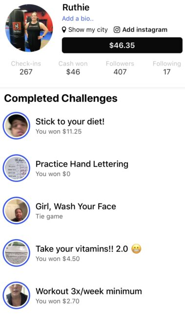 screenshot of Spar app with list of completed challenges