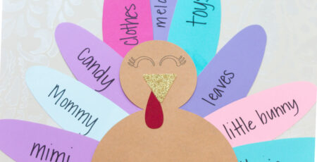 colorful paper turkey with thankful words written on feathers